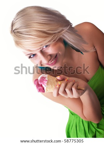 Women with ice-cream, isolated on white - stock photo
