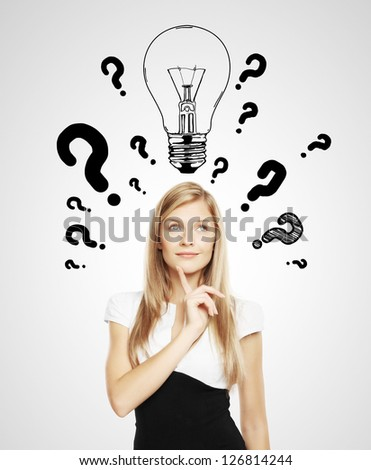 women with lamp and question mark - stock photo