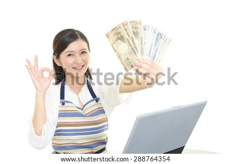 Women with the bill - stock photo