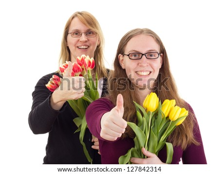Women with tulips - stock photo