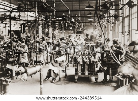 Women working in Welding Department, Lincoln Motor Company in Detroit, Michigan during World War I. - stock photo