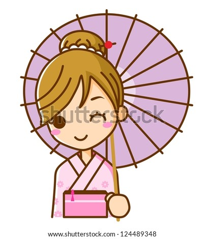 Women Yukata kimono - stock photo