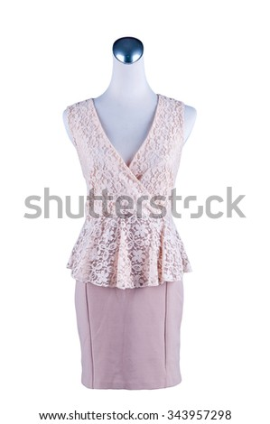 Womens beautiful dress on mannequin on white background