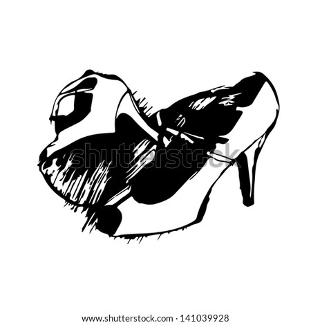 Womens fancy shoes hand drawn sketch on white background. Raster version, editable vector file also available at my port. - stock photo