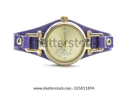 Womens gold wristwatch  - stock photo