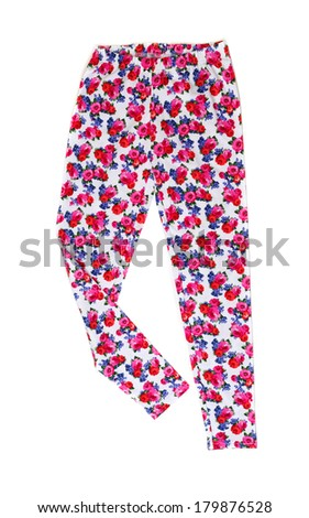Womens pants (pajamas) with floral pattern. Isolate on white. - stock photo