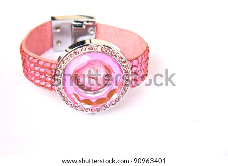 Womens Pink Crystal Watch