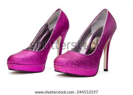 Womens pink sparkly high heels isolated on white backgroun