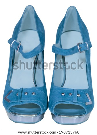 womens shoes high heel blue isolated white background