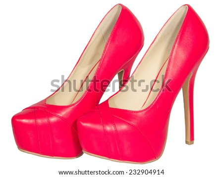 womens shoes high heel red isolated white background