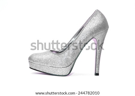 Womens sparkly high heels on white background - stock photo