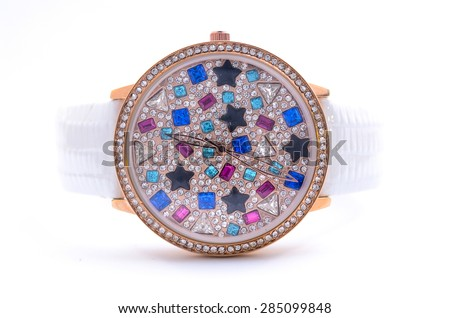 womens Wrist Watches with gems  - stock photo