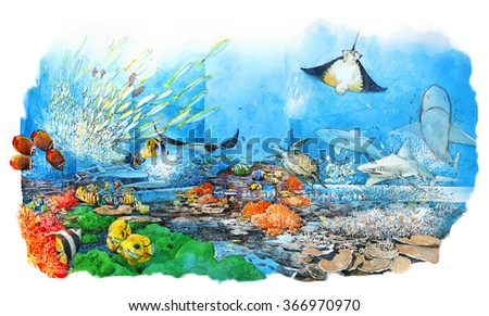 Wonderful and beautiful underwater world with corals and tropical fish. Watercolor illustration  - stock photo