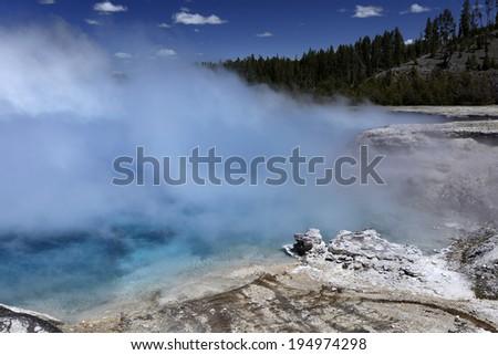 Wonderful aqua marine colored geyser, Yellostone National Park, USA - stock photo