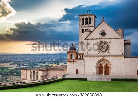 Wonderful architecture in Assisi, Umbria, Italy - stock photo