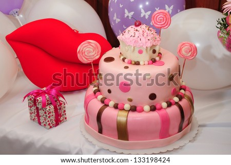 Wonderful birthday cake - stock photo
