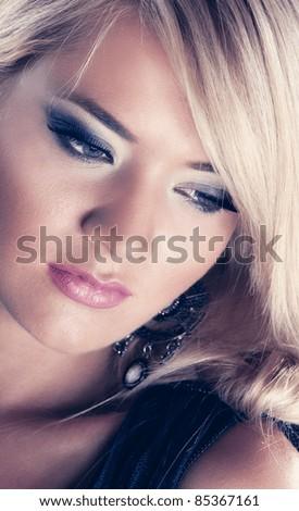 Wonderful blond women, close up - stock photo