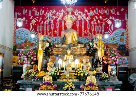 Wonderful Buddha Status in Ayutthaya - stock photo