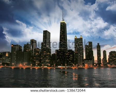 Wonderful Chicago Skyline at sunset. - stock photo