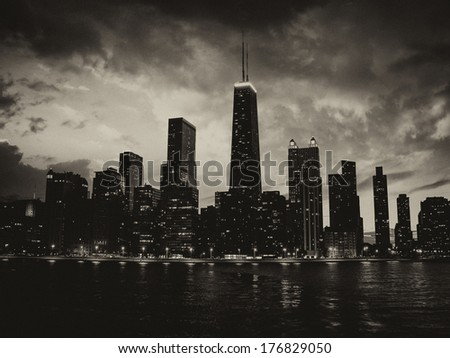 Wonderful Chicago Skyscrapers Silhouette at sunset. - stock photo