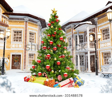Wonderful christmas tree with gift boxes in cute city. Unusual christmas illustration - stock photo