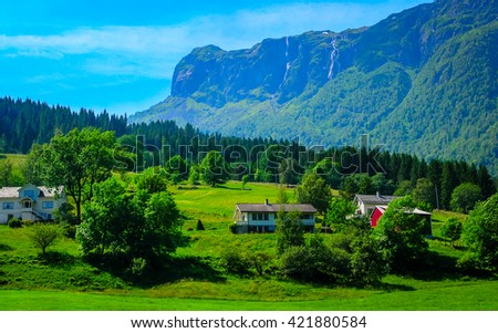 Wonderful countryside colors of Norway - summer season