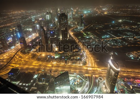 Wonderful Dubai cityscape, aerial view. Soft focus! - stock photo