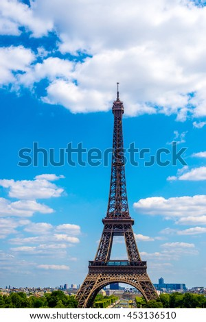 Wonderful Eiffel Tower with blue sky in Paris France.