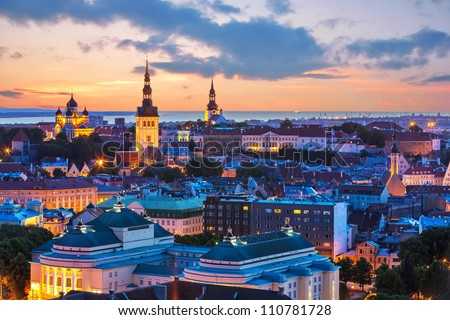Wonderful evening scenic summer panorama of Tallinn, Estonia - stock photo