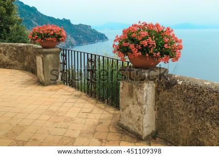 Wonderful garden terrace of Villa Rufolo, Ravello, Amalfi coast, Italy, - stock photo
