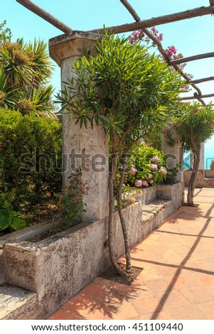 Wonderful garden terrace of Villa Rufolo, Ravello, Amalfi coast, Italy,