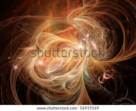 Wonderful gold fractal - stock photo