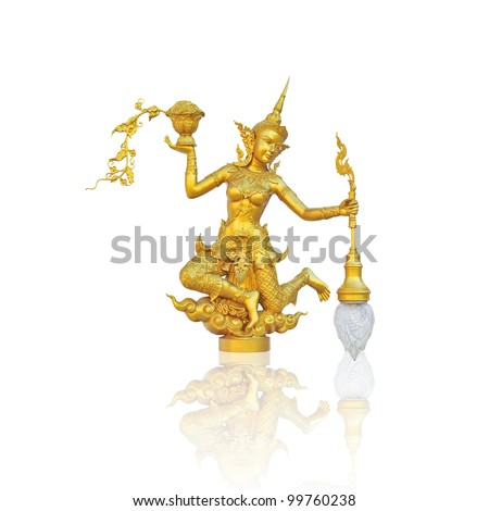 Wonderful Golden Kinnari in Thailand Temple on isolated background with shadow reflect - stock photo