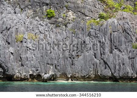 Wonderful lagoon in El Nido, Philippines . Rock and sea water - stock photo