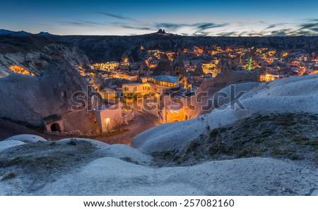 wonderful landscape of Cappadocia in Turkey - stock photo