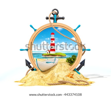 Wonderful landscape with light house on the island in wooden helm. Unusual creative 3D illustration. Isolated at white background