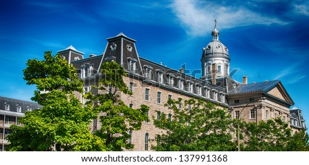 Wonderful medieval architecture of Montreal, Quebec. - stock photo