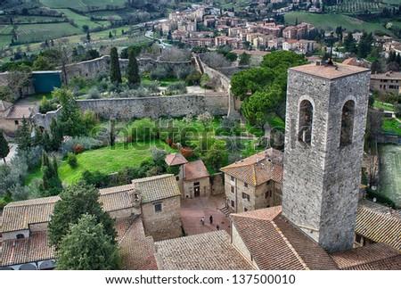 Wonderful medieval town of San Gimignano, Tuscany. - stock photo