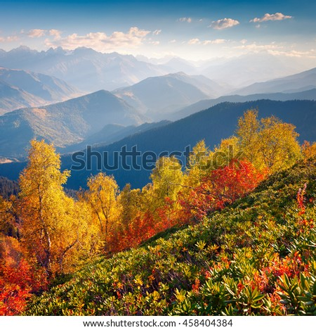 Wonderful morning light in the Caucasus mountains. Colorful Autumn scene in Upper Svaneti, Georgia, Europe. Artistic style post processed photo.