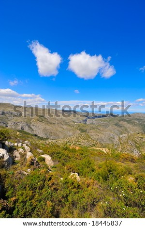 wonderful mountain landscape with blue sky