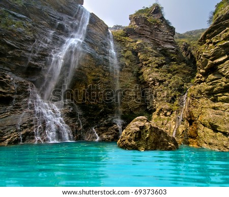 Wonderful natural waterfall in Lushan, Jiangxi, China - stock photo