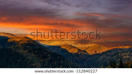 Wonderful nature landscape. majestic sky over the mountain in morning. picturesque dramatic scene. beauty of the world. creative artistic image