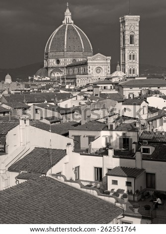 Wonderful old city of Florence panorama with cathedral at the background, Italy  - stock photo