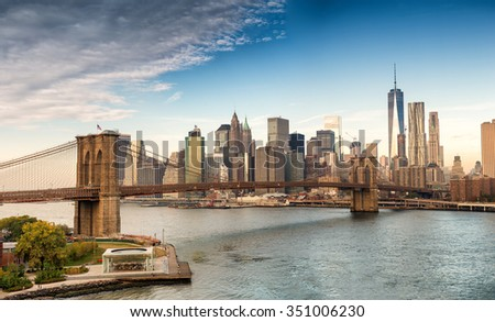 Wonderful panoramic view of New York skyscrapers on a sunny day. - stock photo
