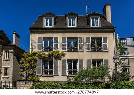 Wonderful picturesque house on the Montmartre hill. Paris.