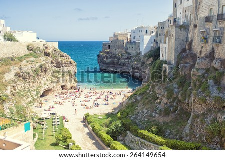 Wonderful quaint village of Polignano a Mare - Apulia, Italy.  - stock photo