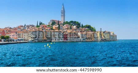 Wonderful romantic old town at Adriatic sea. Harbour in magical summer. Rovinj. Istria. Croatia. Europe. - stock photo