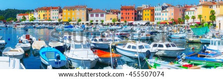 Wonderful romantic old town at Mediterranean sea. Boats and yachts in harbor at magical summer. - stock photo