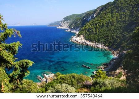 Wonderful seacoast near by Agios Ioannis, Skopelos island, Greece - stock photo