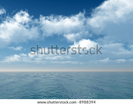 Wonderful seascape with puffy clouds